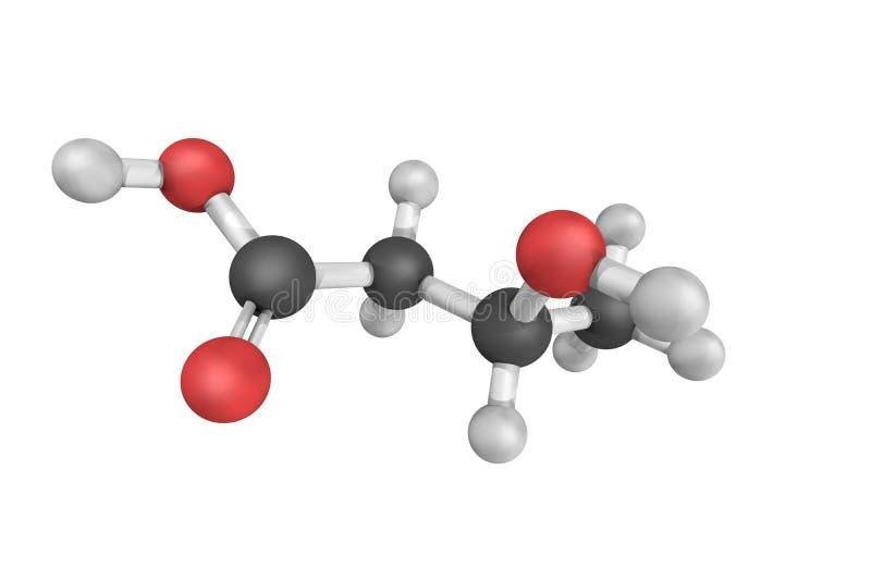 3d structuur van hydroxybutyric zuur 3, een organische verbinding en a stock foto's