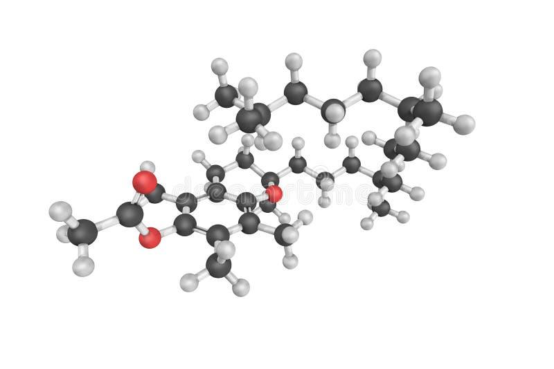 3d structuur van Tocopheryl-acetaat, die ook als vitamine E wordt bekend acet royalty-vrije illustratie