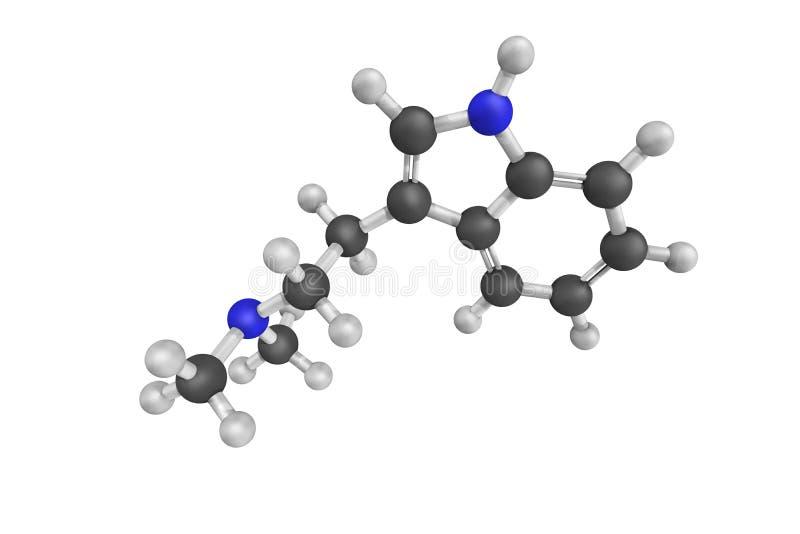 3d Struktur von Dimethyltryptamine, ein starkes psychedelisches Mittel lizenzfreie abbildung