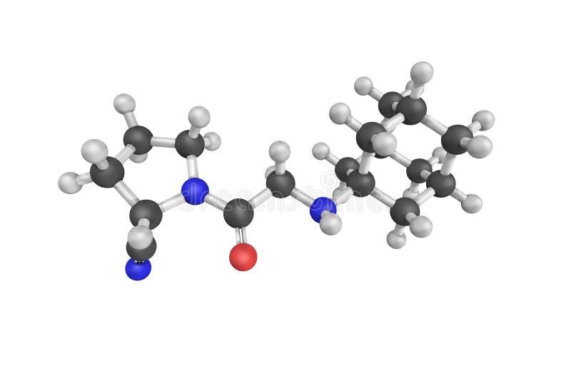 3d Struktur von Vildagliptin, ein orales anti--hyperglycemic Mittel ( lizenzfreie abbildung