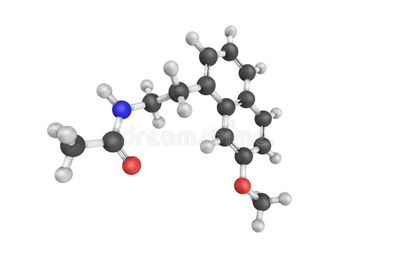 3d struktura Agomelatine jest melatonergic antidepressant royalty ilustracja