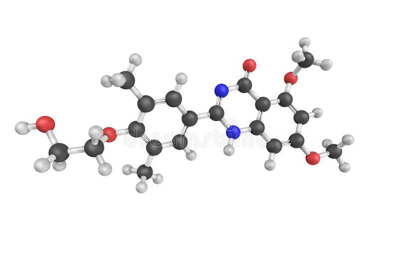 3d struktura Apabetalone, orally dostępna mała molekuła fotografia stock