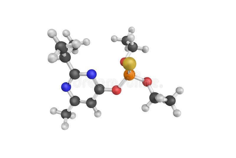 3d struktura Diazinon, bezbarwny ciemnego brązu ciecz ilustracja wektor