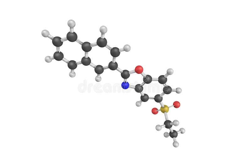 3d struktura Ezutromid, orally zarządzająca mała molekuła obrazy stock