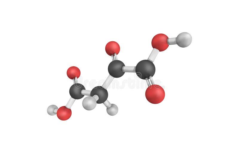 3d struktura także znać jako oxalacetic kwas Oxaloacetic kwas ilustracja wektor