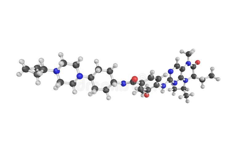 3d struktura Volasertib, mały molekuła inhibitor PL obrazy stock