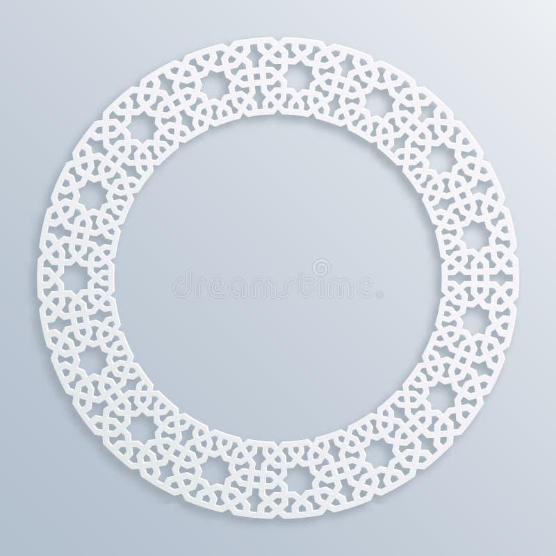 3D struttura bianca rotonda, scenetta Musulmani geometrici islamici di vettore del confine, motivo persiano Ornamento orientale e illustrazione di stock