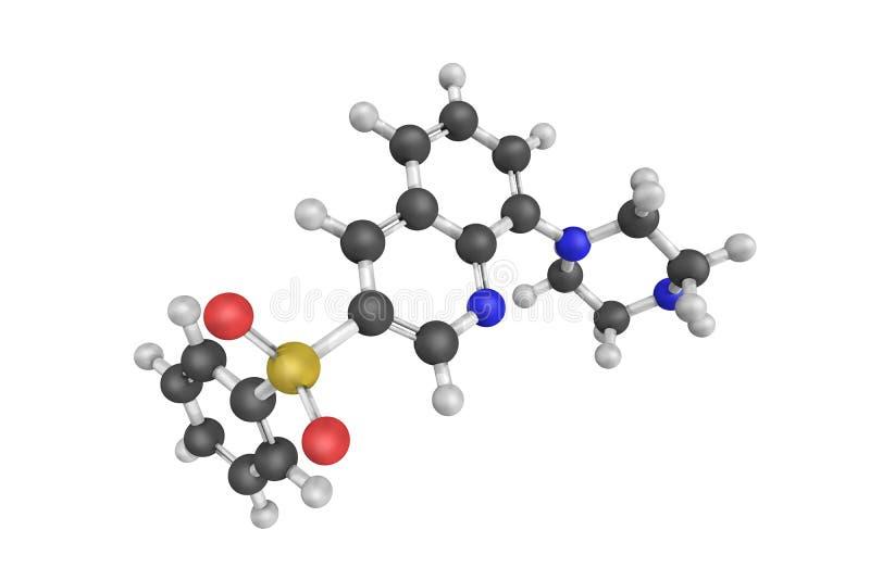 3d struttura di Intepirdine, un antagonista selettivo del ricevitore 5-HT6 illustrazione di stock