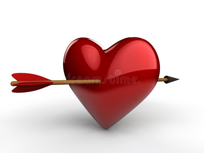 3d strzała przez serca ilustracji