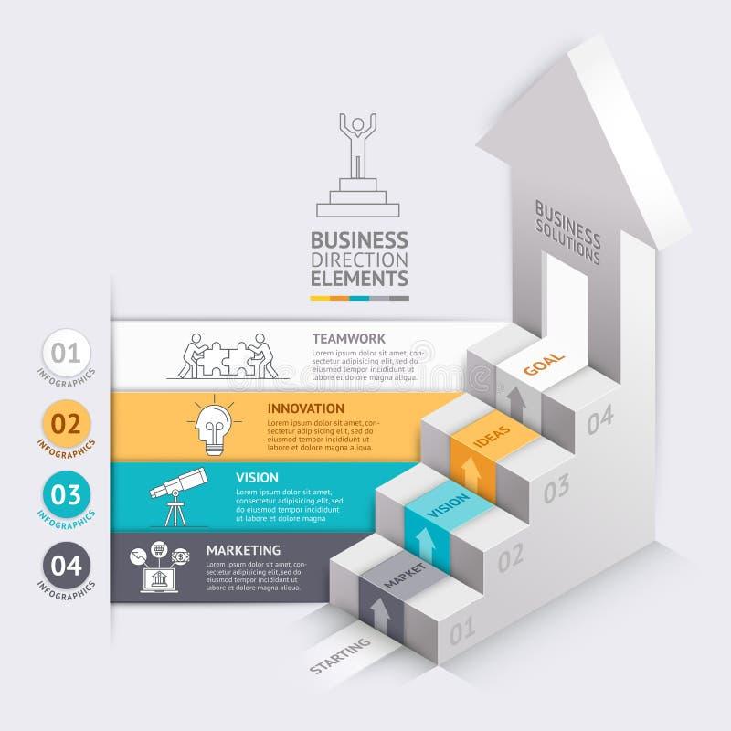 3d strzała schody diagrama Biznesowy szablon ilustracji