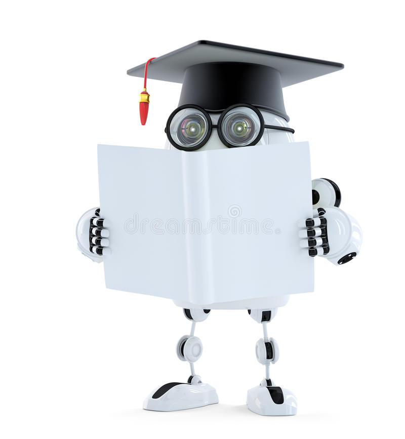 3d Student robot with blank book. Isolated. Contains clipping path of robot and book stock illustration