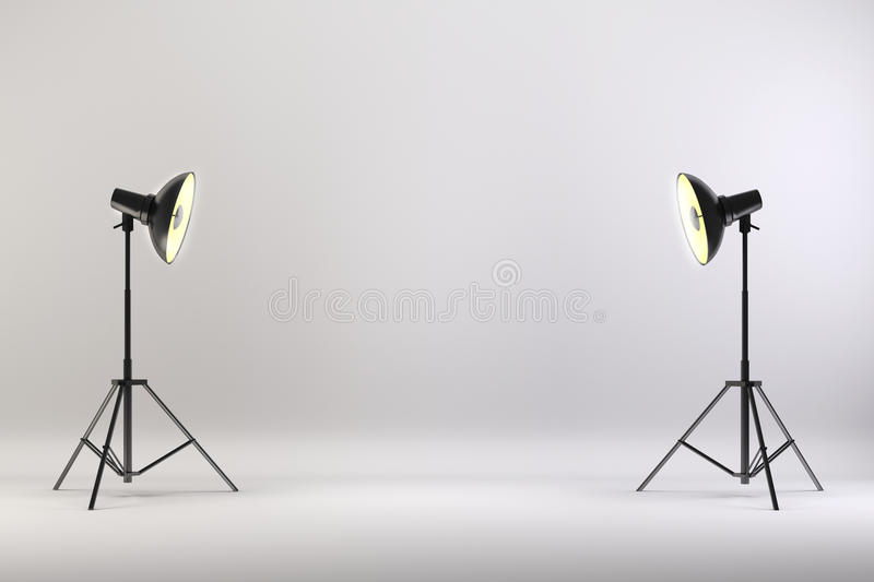 3d Studio Setup With Lights And White Background Stock ...
