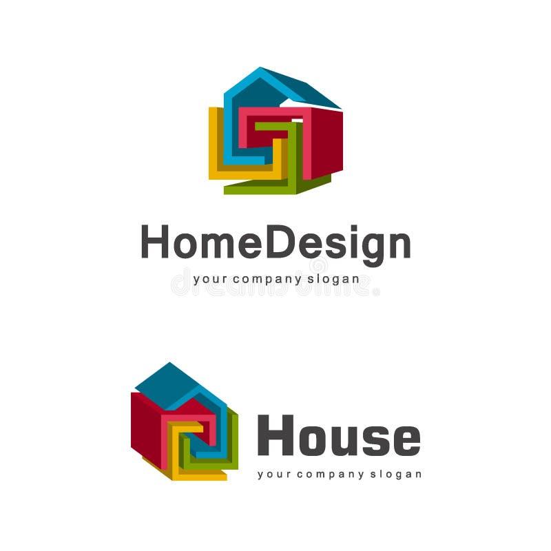 3d stwarzają ognisko domowe loga szablon, abstrakcjonistyczny geometryczny domowy symbol, buduje firma logotyp royalty ilustracja