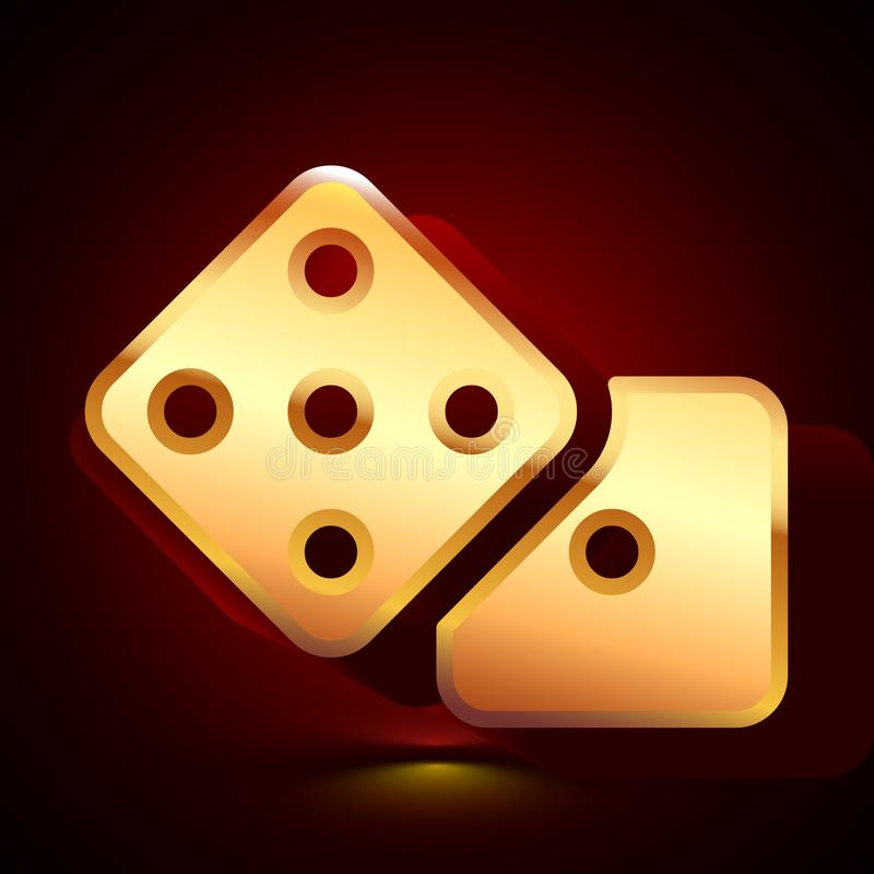 3D stylized Dice icon. Golden vector icon. Isolated symbol illustration on dark background. 3D stylized Dice icon. Glossy golden vector icon. Isolated volumetric royalty free illustration