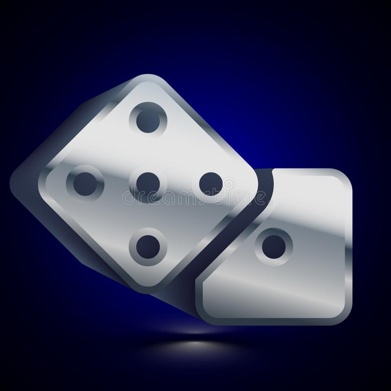 3D stylized Dice icon. Silver vector icon. Isolated symbol illustration on dark background. 3D stylized Dice icon. Glossy silver vector icon. Isolated volumetric royalty free illustration