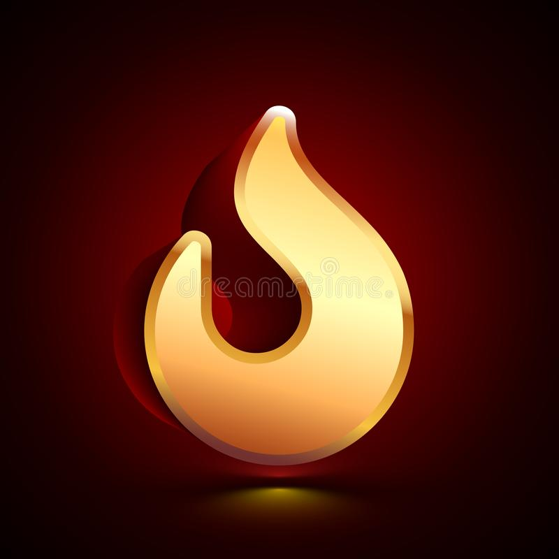 3D stylized Fire icon. Golden vector icon. Isolated symbol illustration on dark background. 3D stylized Fire icon. Glossy golden vector icon. Isolated volumetric royalty free illustration