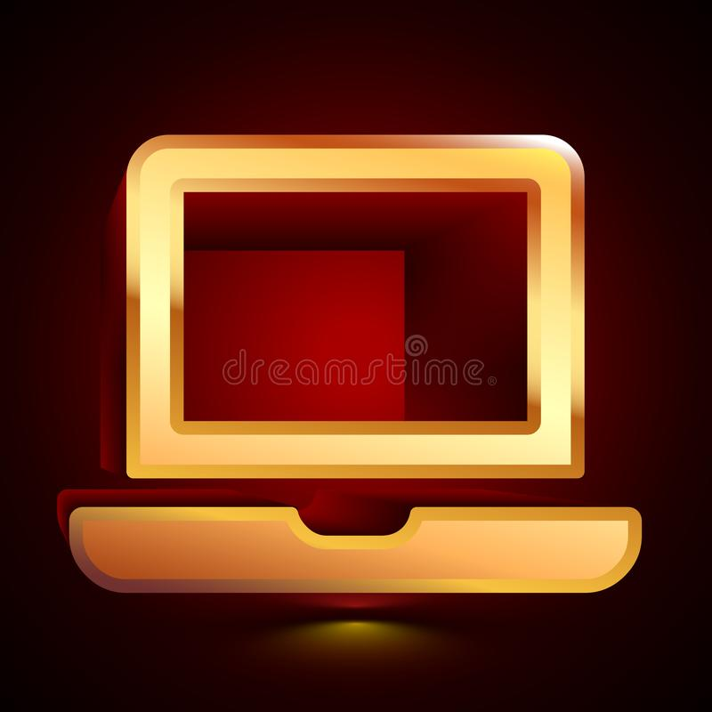 3D stylized Laptop icon. Golden vector icon. Isolated symbol illustration on dark background vector illustration