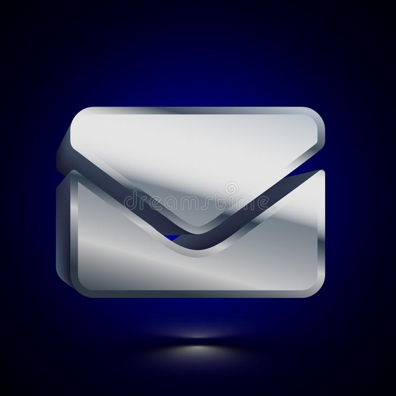 3D stylized Letter Mail icon. Silver vector icon. Isolated symbol illustration on dark background royalty free illustration