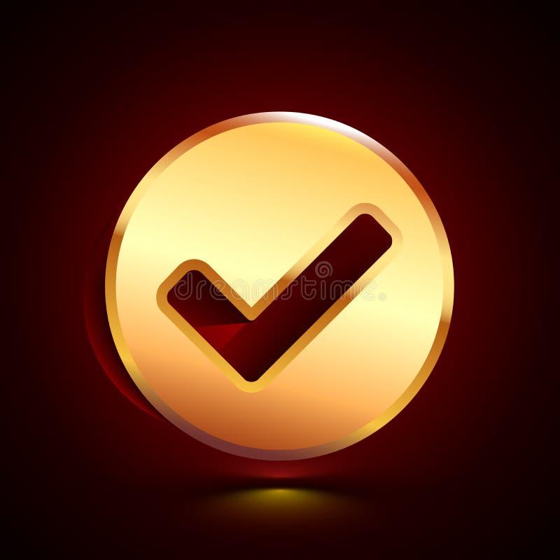 3D stylized Ok icon. Golden vector icon. Isolated symbol illustration on dark background stock illustration