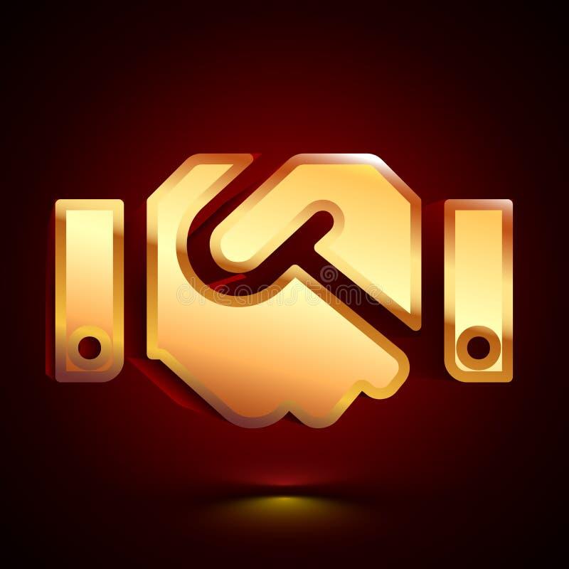 3D stylized Shake Hands icon. Golden vector icon. Isolated symbol illustration on dark background stock illustration