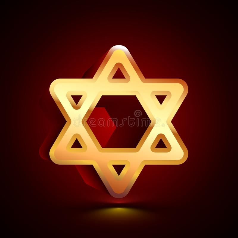 3D stylized Star of David icon. Golden vector icon. Isolated symbol illustration on dark background vector illustration