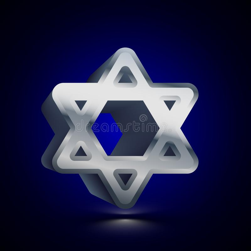 3D stylized Star of David icon. Silver vector icon. Isolated symbol illustration on dark background vector illustration
