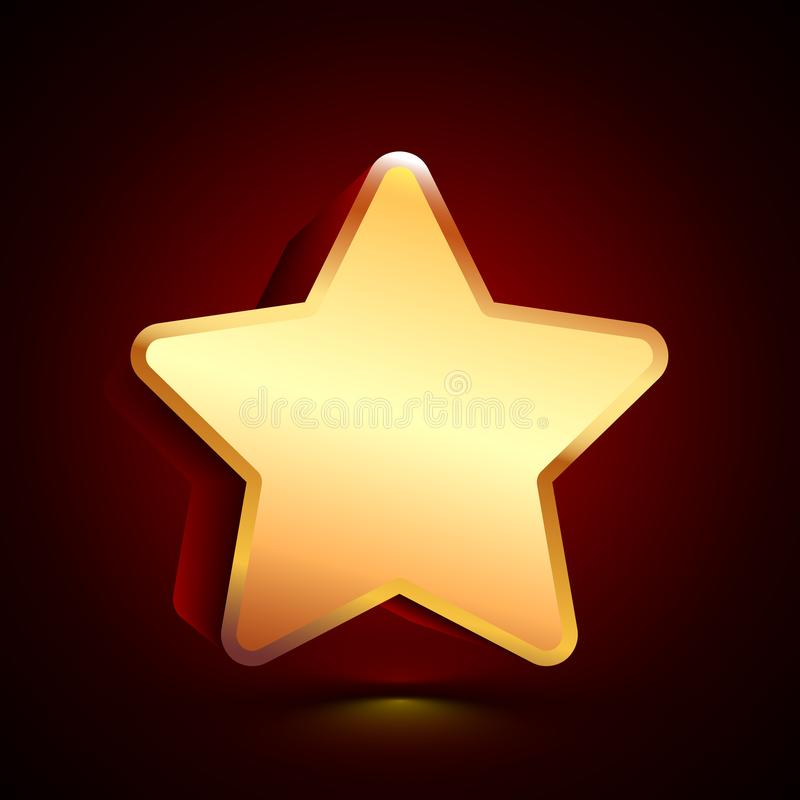 3D stylized Star icon. Golden vector icon. Isolated symbol illustration on dark background vector illustration