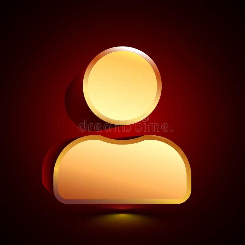 3D stylized User Profile icon. Golden vector icon. Isolated symbol illustration on dark background. 3D stylized User Profile icon. Glossy golden vector icon vector illustration