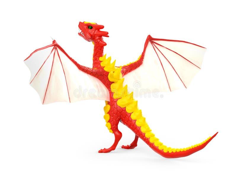 3d subido dragón detrás stock de ilustración