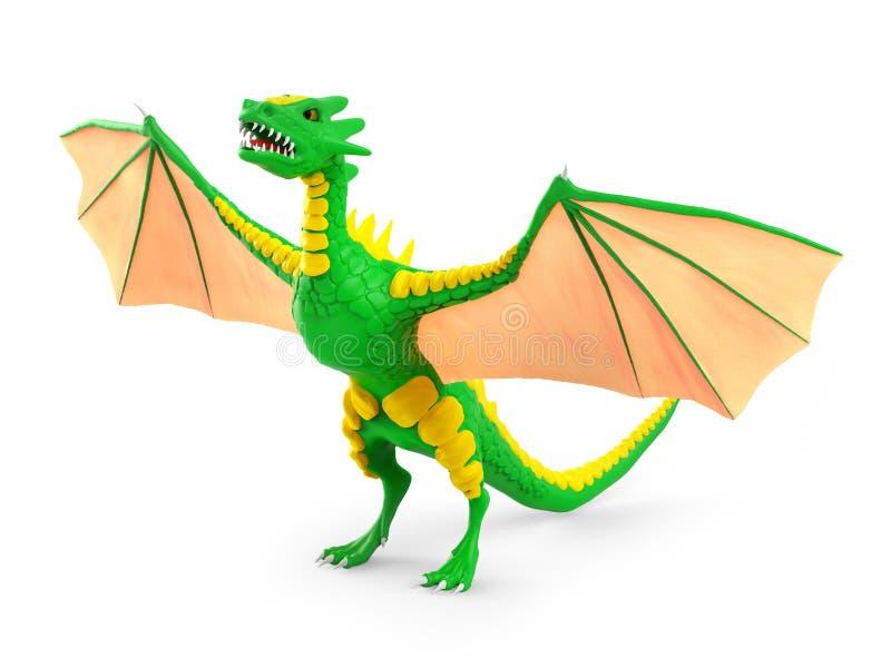 3d subido dragón ilustración del vector