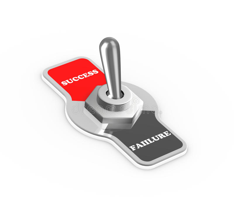3d success failure toggle switch button. 3d rendering of success failure toggle switch button flipped in the success position stock illustration