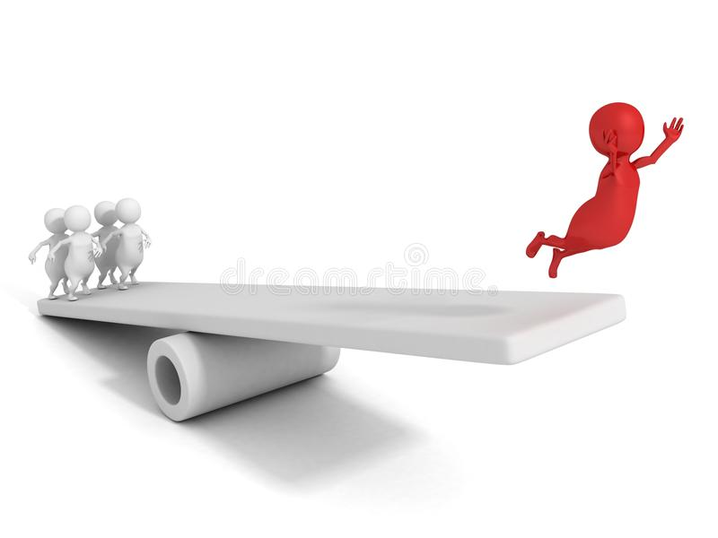 3d success man jump up on seesaw with help team royalty free illustration