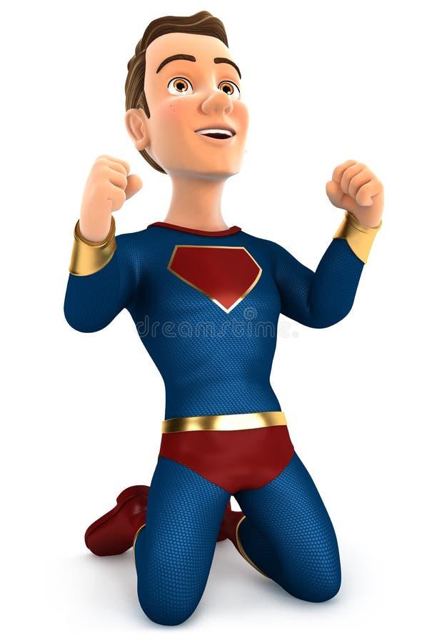 Download 3d Successful Superhero On His Knees Stock Illustration - Illustration of reward, muscular: 107189527