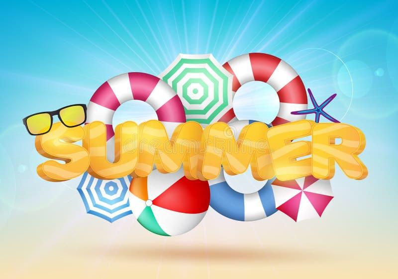 3D Summer Text Vector Illustration with Beach Umbrellas. And Beach Ball vector illustration