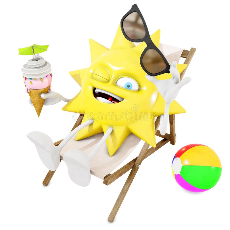 3D sun character in lounge chair eats an ice cream. 3d rendering stock illustration