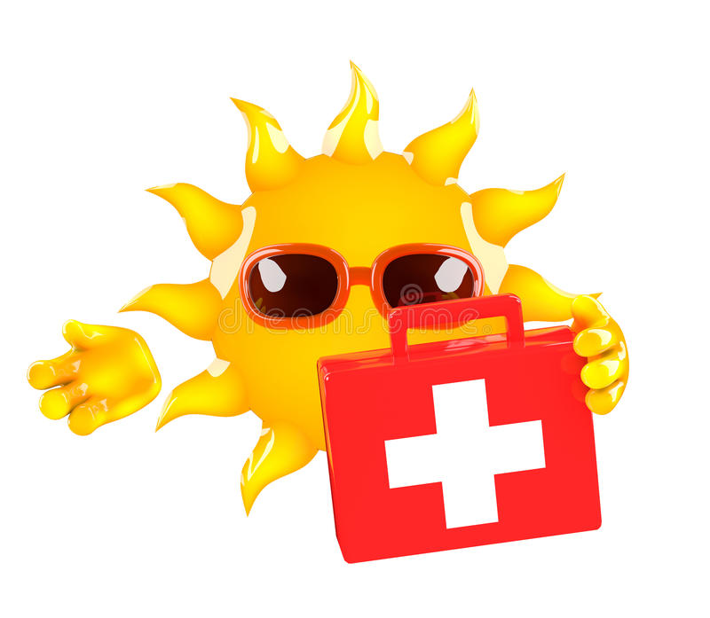 3d Sun first aid. 3d render of Sun with a first aid kit stock illustration