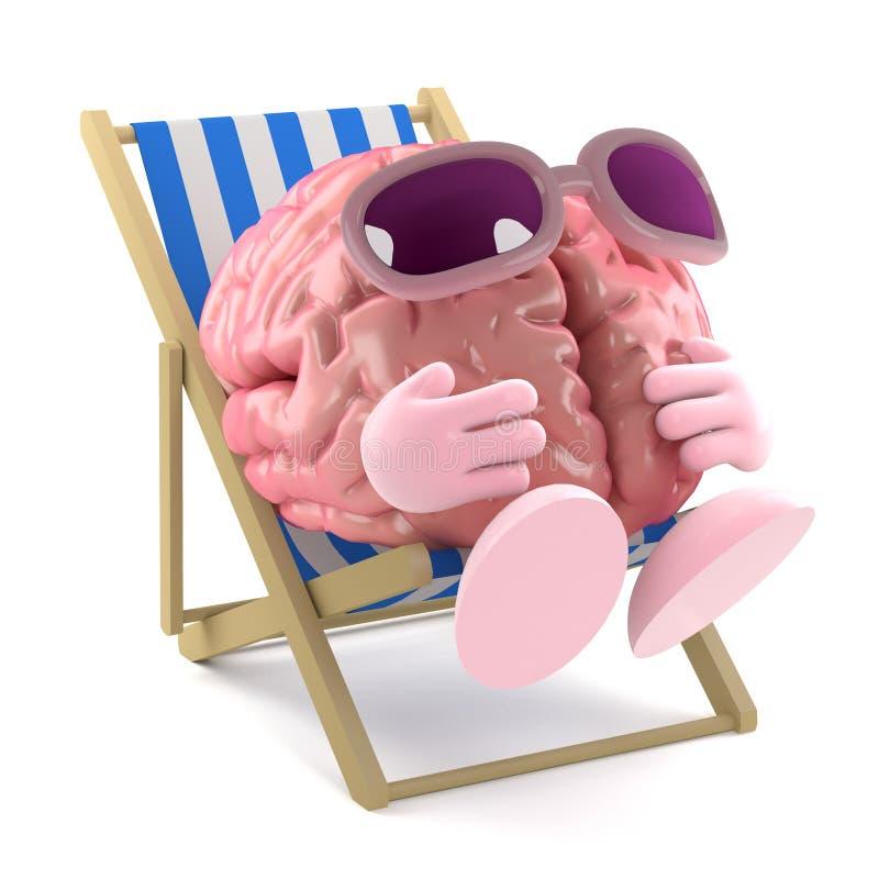 3d Sunbathing brain vector illustration