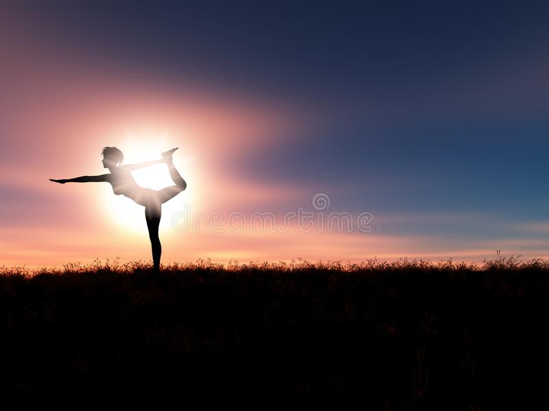 3D sunset landscape with female in yoga position stock illustration