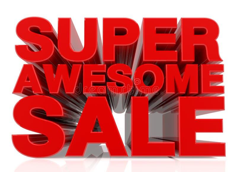 3D SUPER AWESOME SALE palavra sobre fundo branco 3d renderização ilustração stock