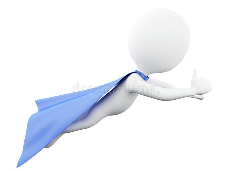 3d Super hero with blue cape. 3d renderer image. Super hero with blue cape. Isolated white background stock illustration