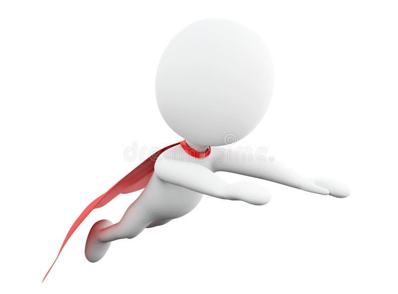 3d Super hero with red cape. 3d renderer image. Super hero with red cape. Isolated white background vector illustration