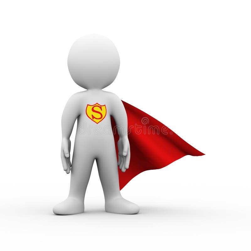 3d super hero superman in a raincoat stock illustration