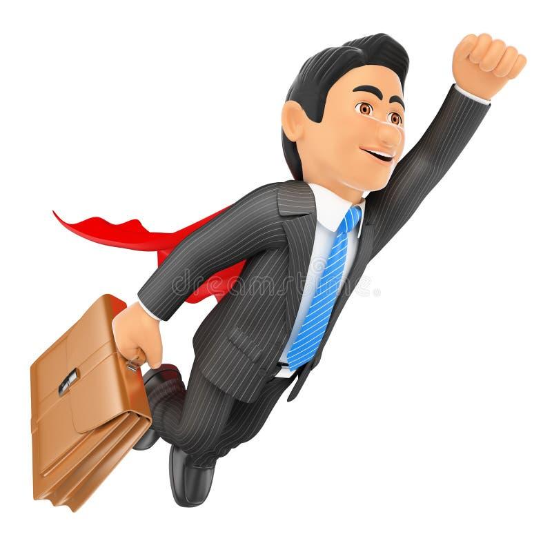 3D Super zakenman die met kaap en aktentas vliegen vector illustratie