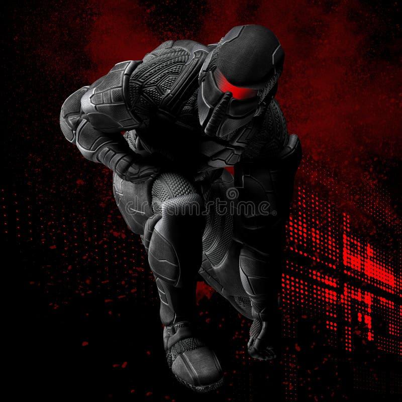 3D Superhero met rode grafiek stock illustratie