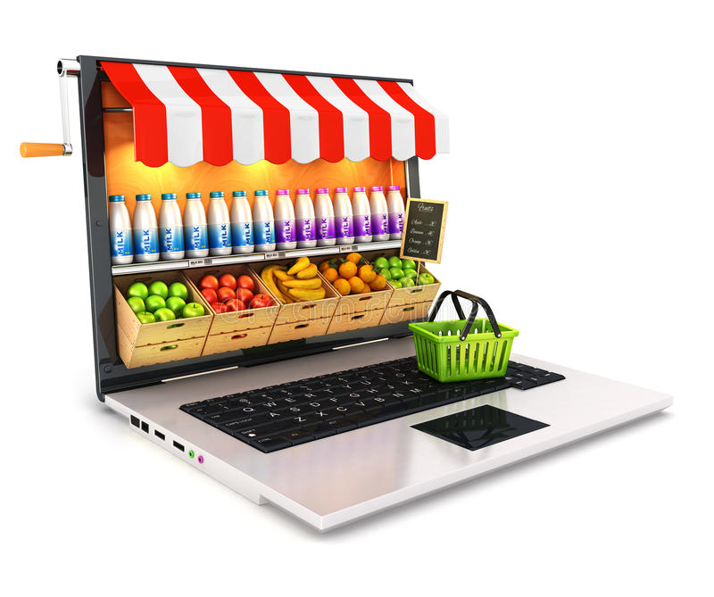 3d supermarket laptop. White background, 3d image
