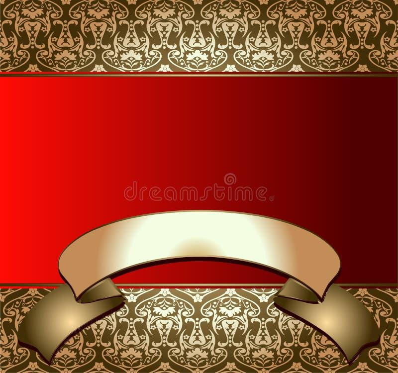 D'or sur le drapeau rouge illustration stock