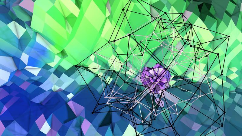 3d surface as 3d low poly abstract geometric background with modern gradient colors, blue green 16 vector illustration