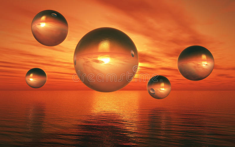 3D surreal landscape with glass spheres over sea vector illustration