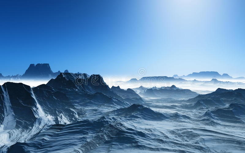 3D surreal landschap met sneeuwbergen stock illustratie