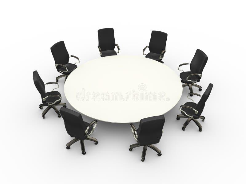 3d svuotano la sala riunioni di conferenza della tavola delle sedie illustrazione vettoriale